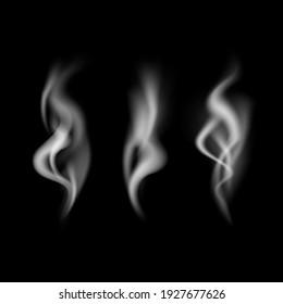 Realistic Detailed 3d Images Smoke Vapor Texture Set on Dark Background Smoking Elements. illustration of Fog Motion Effect