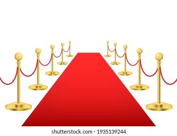 Realistic Detailed 3d Luxury Red Carpet with Gold Barriers for Event, Award, Entertainment and Premiere. illustration