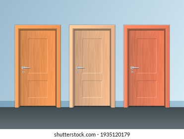 Realistic Detailed 3d Modern Wooden Closed Doors Set for Home and Office Interior. illustration of Door