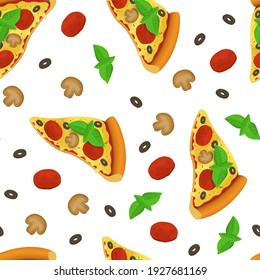 Realistic Detailed 3d Pizza Slice Italian Fast Food with Pepperoni Tomato and Mushroom Traditional Snack for Menu Restaurant Seamless Pattern Background on a White. illustration