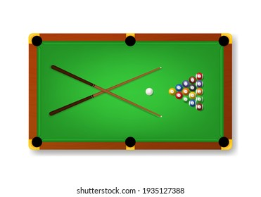 Realistic Detailed 3d Pool Billiard Green Table and Equipments Top View Symbol of Competition, Game, Sport or Leisure. illustration