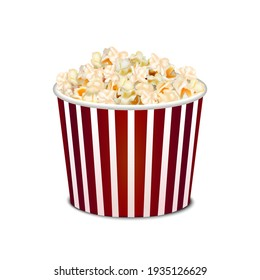 Realistic Detailed 3d Popcorn Snack in Striped Bucket Isolated on White Background Big Portion Cinema Movie Fast Food. illustration