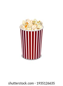 Realistic Detailed 3d Popcorn Snack in Striped Bucket Isolated on White Background Cinema Movie Fast Food Concept. illustration