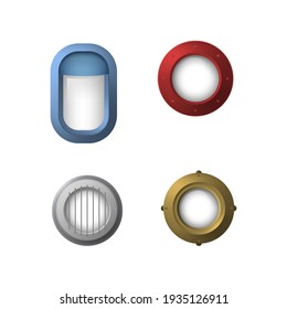 Realistic Detailed 3d Portholes Icons Set Color Different Types Window Frame Isolated on White Background. illustration of Porthole Icon