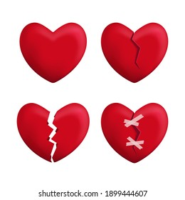 Realistic Detailed 3d Red Broken Hearts Set Icons Symbol of Pain and Love. illustration of Icon Heart