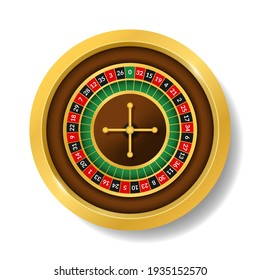 Realistic Detailed 3d Round Casino Roulette Top View Symbol of Gambling Game, Risk and Win. illustration