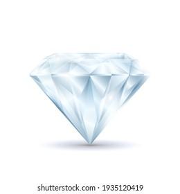 Realistic Detailed 3d Shiny Bright Diamond Symbol of Luxury and Treasure Precious Crystal. illustration of Brilliant