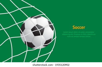 Realistic Detailed 3d Soccer Ball Hitting on Net Card Play Football Sport Game Goal Competition Win Concept. illustration