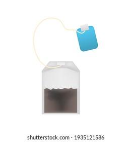 Realistic Detailed 3d Tea Bag Set and Blue Tag Element for Hot Drink. illustration of Teabag