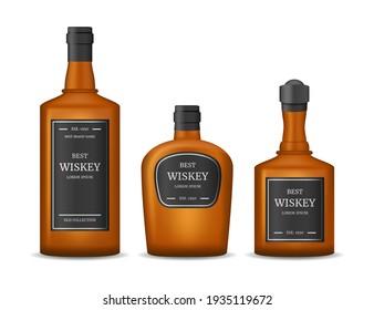 Realistic Detailed 3d Whiskey Glass Bottles Set Scotch for Bar Menu. illustration of Brown Scottish Alcohol Beverage