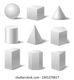 Realistic Detailed 3d White Basic Shapes Set Isolated on White Background Include of Cube, Cylinder, Sphere and Cone. illustration