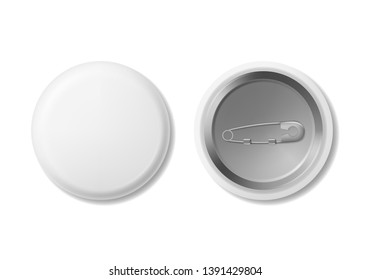 Realistic Detailed 3d White Blank Button Badge Empty Template Mockup Set Front and Back View. illustration