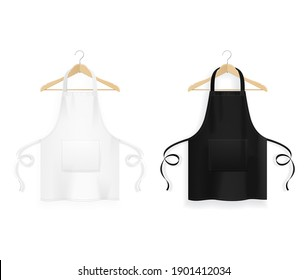 Realistic Detailed 3d White Blank Black and White Kitchen Apron with Wooden Clothes Hangers Template Mockup Set. illustration