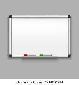 Realistic Detailed 3d Whiteboard on a Gray Background for School and Business Office. illustration of Education White Board