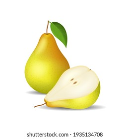 Realistic Detailed 3d Whole Pear and Slice Isolated on a White Background Fresh Healthy Fruit. illustration of Pears