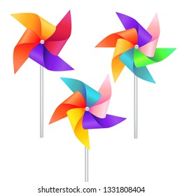 Realistic Detailed 3d Wind Mill Toy Set Isolated on a White Background. illustration of Pinwheel or Windmill Wheel Rotation