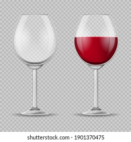 Realistic Detailed 3d Wine Glass Set on a Background Empty and Full Wineglass. illustration of Wineglasses