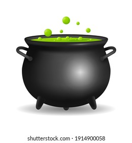 Realistic Detailed 3d Witch Cauldron Closeup View Isolated on White Background Symbol of Horror and Magic. illustration