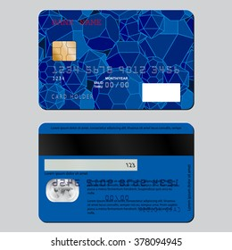 Realistic detailed credit card on both sides.. The sample design on the theme of education. Rasterized version.