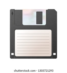 Realistic detailed floppy-disk, retro object on white