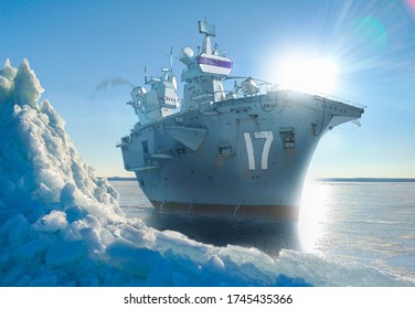 Realistic and detailed raster illustration of a giant warship (aircraft carrier) at the frosted cold sea. Background photo has taken from my archive.
