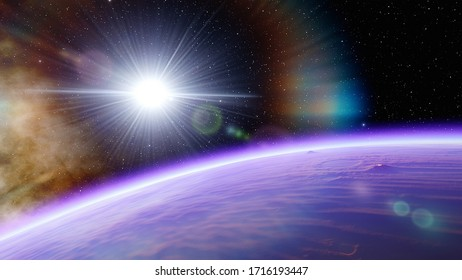 realistic detailed surface of an alien planet, exo-planet in far space, earth-like planet, 3d render