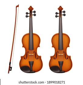 Realistic detailed violin with fiddlestick isolated on a white background. Classical stringed musical instrument with wooden texture. Layout design for banners and presentations
