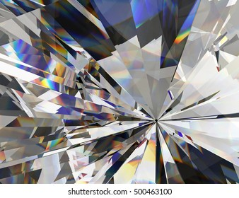 Realistic diamond with close up texture, 3D illustration.