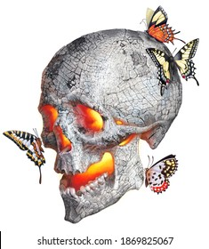 Realistic drawing of a human skull. Color illustration: a burning ash skull and butterflies.