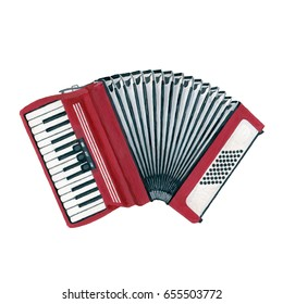 A realistic drawn accordion, hand painted with gouache. Classic musical instrument isolated on white background.