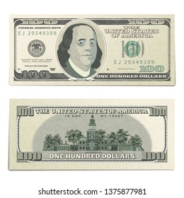 Realistic dummy one hundred USA dollars banknote, front and back detailed coupure isolated on white