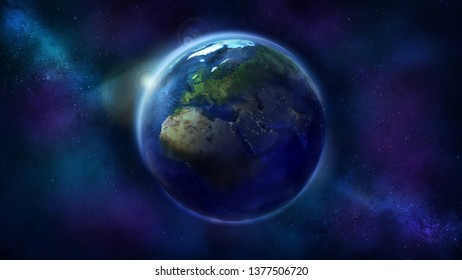 Realistic Earth from space showing Africa, Europe and Asia.
