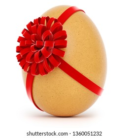 Realistic Easter egg with a big bow on white background. 3d rendering.