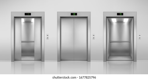 Realistic elevators with opened and closed, half-open doors. Steel lift in modern interior with up and down arrow buttons and floor indicator. Building or office hall, hotel corridor. 3D illustration