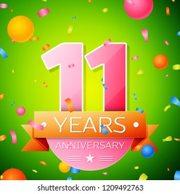 Realistic Eleven Years Anniversary Celebration Design. Pink numbers and golden ribbon, confetti on green background. Colorful template elements for your birthday party