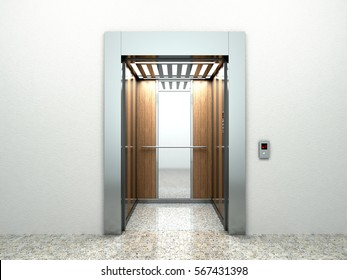 Realistic empty elevator hall interior with waiting lift marble floor ceiling window and grey walls 3d illustration
