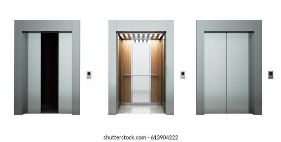 Realistic empty elevators hall on white 3d illustration