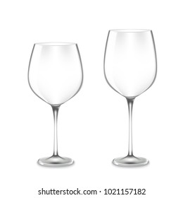 realistic empty Wine Glasses isolated on white background. illustration of 2 Wine Glasses, widen and narrow.