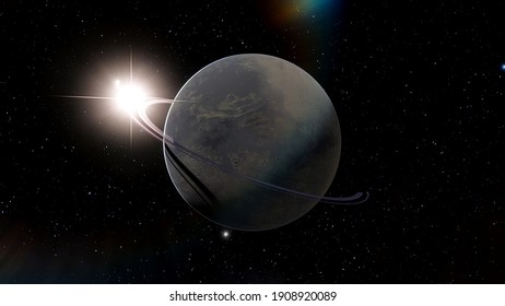 realistic exoplanet, planet suitable for colonization, planet similar to Earth, detailed planet surface 3D render