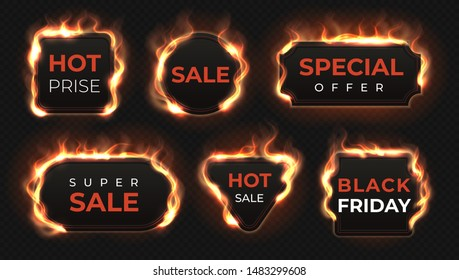 Realistic fire labels. Hot deal and sale offer text banners with shiny flame effect, isolated design objects.  burning commercial labels set