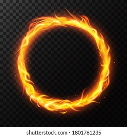 Realistic fire ring. Burning flame circle hoop, red flaming round light, circus fiery circle ring frame isolated  illustration. Ring fire realistic, light circle glow