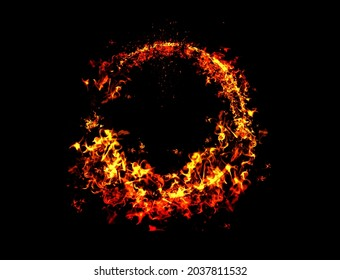 Realistic fire ring. Burning flame circle hoop, red flaming round light, circus fiery circle. Ring fire realistic, light circle glow.