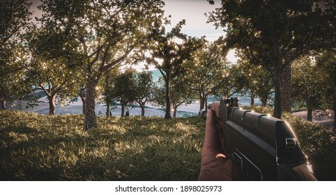 Realistic first person shooter war game screenshot concept - man running with AK-47 rifle through the lush forest - contains blurs and artifacts effects, 3d illustration
