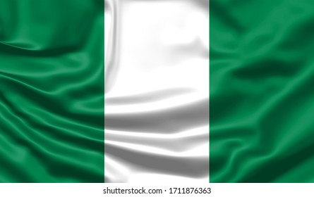 Realistic flag. Nigeria flag blowing in the wind. Background silk texture. 3d illustration.