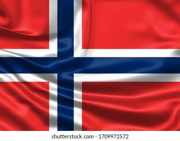 Realistic flag. Norway flag blowing in the wind. Background silk texture. 3d illustration.