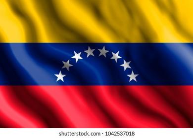 The realistic flag of Venezuela