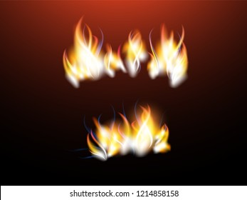 Realistic flames with sparks for your design. Red color.