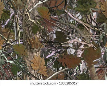 Realistic forest camouflage. pattern. Tree, branches, green and brown oak leaves. Useable for hunting and military purposes.