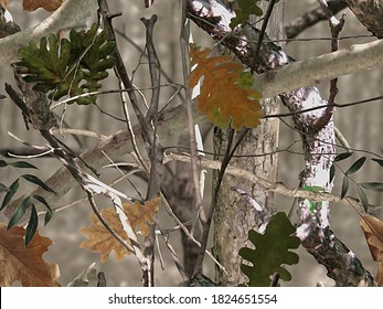 Realistic forest camouflage. Seamless pattern. Tree, branches, green and brown oak leaves. Gray blur background. Useable for hunting and military purposes.