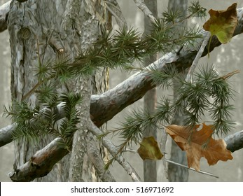 Realistic forest camouflage. Seamless pattern. Conifer trees, branches and leaves. Useable for hunting and military purposes.